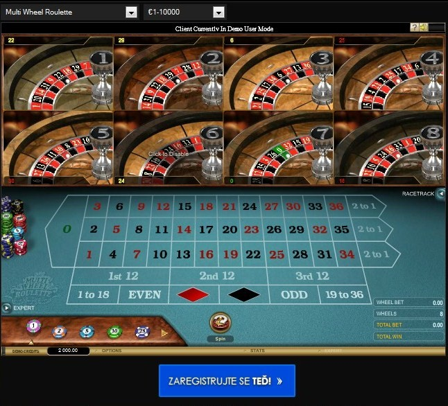 Ruleta Multiwheel u CasinoEuro